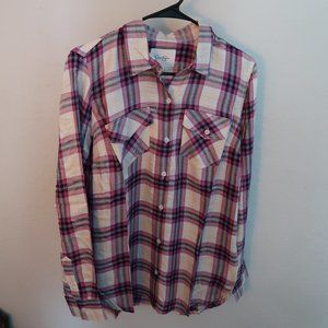 Jessica Simpson Size Medium pink plaid shirt